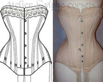 "REF Z Louis XV ""droit devant"" french corset pattern style hand drafted from antique 24 inches waist size"