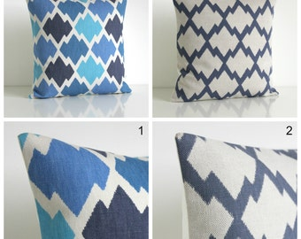 Ikat Pillow Sham, Pillow Cover, Ikat Cushion Cover, Ikat Pillow Cover, Pillow Case, Throw Pillow Cover - Ikat Blue Collection
