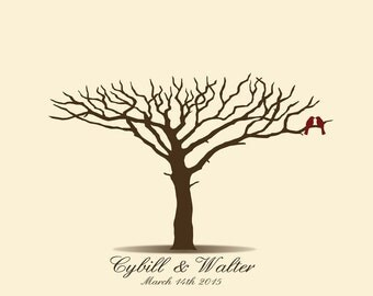 Wedding Guest Book, Guestbook Tree, Acacia Tree, African Tree, Fingerprint Tree, Thumbprint, Custom color,size,text - DIGITAL PRINTABLE JPEG