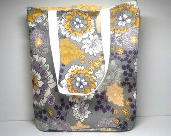 Purple Yellow and Grey Floral Bucket Tote with Yellow Floral Lining