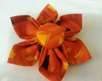 Halloween Dog Collar Flower - Pumpkin - Item 2204