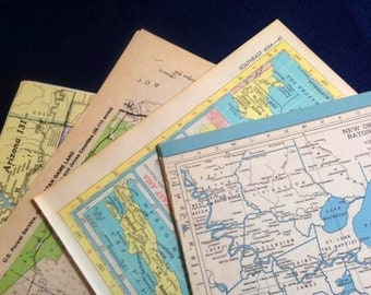 Ephemera Map Pages - Set of 20 - 4 different sources - some Vintage