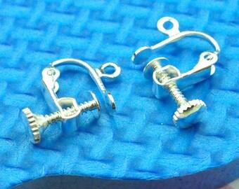 20pcs Silver Screw in Clip earring findings Screw back earring clips Silver clip earring findings non pierced earring silver clip adaptor