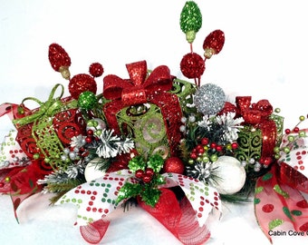 Christmas Gift Box Centerpiece Floral Arrangement Prelit red lime white FOREVER CHRISTMAS Shop by Cabin Cove Creations