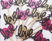Cupcake Toppers, Love With Glitter Hearts, Hot Pink, Gold And Black, Wedding, Bridal Shower Decoration, Bachelorette Party Supply, Set Of 12