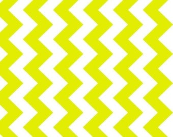 SALE - One Yard - Medium Chevron in Neon green by Riley Blake