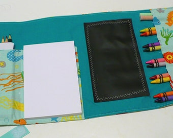 Traveling Activity Wallet - holds crayons, chalk, pencils - Riley Blake Ocean Main Teal  - Ready to Ship