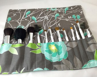 Makeup Brush Roll Organizer Holder - Riley Blake Cottage Main in Gray - Ready to Ship