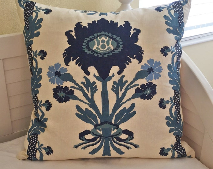 Quadrille China Seas Henriot Floral Blues onWhite Designer Pillow Cover - Square and Lumbar Sizes - FREE SHIPPING