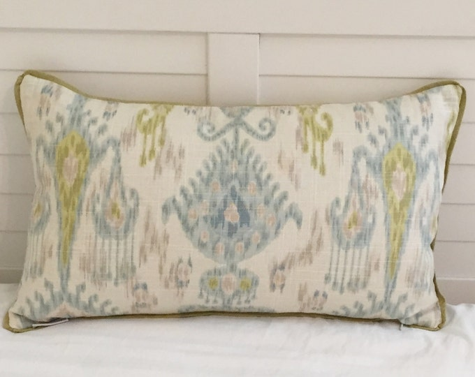 Khanjali Ikat Design in Glacier Designer Pillow Cover with Piping- Square, Lumbar and Euro Sizes
