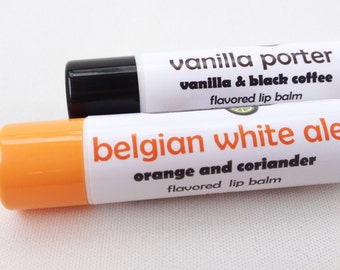 Craft Beer-flavored Lip Balms - Vanilla Porter & Belgian White Ale lip balm duo - craft beer lip balms from Aromaholic