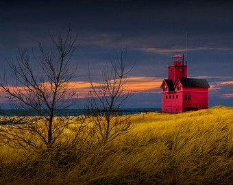 Big Red Lighthouse during Fall at Sunset on Lake Michigan by Holland Michigan No.00382 - A Seascape Lighthouse Photograph