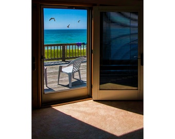 View through the Cottage Door at the Beach on Lake Michigan by the shore at Arcadia Michigan No.33003 A Fine Art Seascape Photograph
