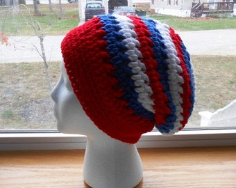 Patriotic Spirit Hat Slouchy Beanie Hat Hand Made Crocheted by Kams-store.com