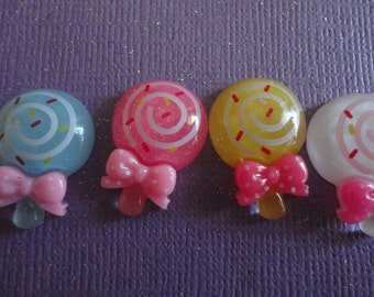 Kawaii mini lollipop candy with bow cabochon decoden deco diy charms  4 pcs---USA seller