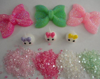Kawaii cabochon decoden deco diy big bow and teardrops charm kit # 449---USA seller