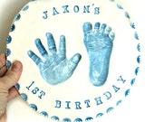Personalized First Birthday Gift - Personalized Baby Nursery Wall Decor - Handprint Art Wall Decor - Baby Keepsake Gift - New Mom Gift