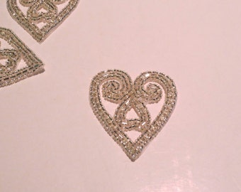 SIlver Beaded Heart Shape Applique--One Piece