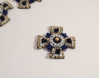Tiny Maltese Cross Design Beaded Applique--One Piece