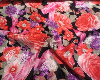 SPECIAL--Brilliant Floral Print Pure Silk Jacquard Fabric--One  Yard