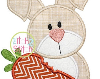 Easter Bunny Carrot Applique, sizes: 4x4, 5x7, and 6x10 with Instant Download