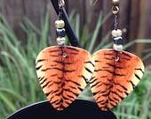 Tiger Guitar Pick Earrings