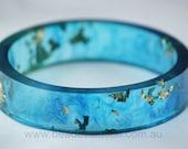 Resin Bangle, Blue with Gold Leaf Flake