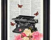 BOGO 1/2 OFF  Dictionary Art Prints Sheet MusicTypewriter with Flowers  A HHP Original Concept and Design Steampunk Art Prints Wall Art