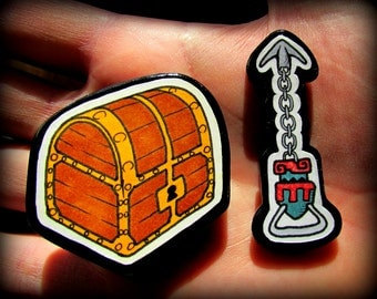 Legend of Zelda Magnets - Hand Drawn Hookshot and Chest - One of a Kind Artwork