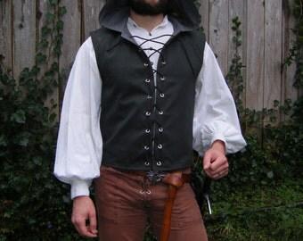 Vest, Laced Hooded Vest or Doublet, Made to Order