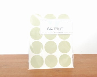 pale green circle labels: circle seals, green stickers, round labels, envelope seals set of 48