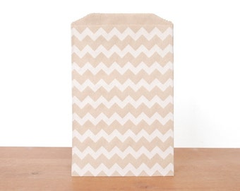 goody bags treat bags: 10 kraft gift bags, kraft and white striped chevron, favor bags