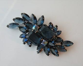 Blue Sapphire Emerald cut Juliana or Juliana style brooch pin