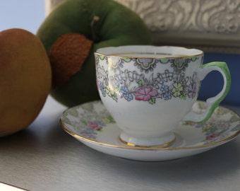 Green & Pink Tea Cup by Salisbury