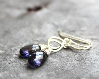 Petite Iolite Earrings, Drop Earrings, Blue Water Sapphire Gemstones, Sterling Silver