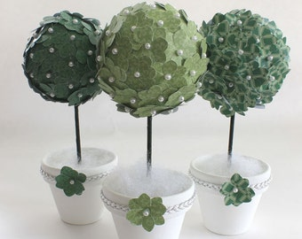 Paper Flower Topiary Set of 3 Table Decoration Green White Kissing Balls Pearl Bead Embellishments Silver Evergreen Sage