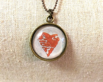Heart Stamp Pendant Necklace - Birthday Gift One of a Kind - Unique Gift - Industrial Whimsy