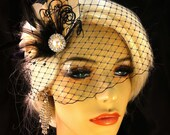 Champagne and Black Wedding Hair Fascinator, Wedding Hair Clip, Bridal, Prom, Wedding Hairpiece, Great Gatsby Wedding, Wedding Veil Set