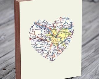 Pittsburgh Map - Pittsburgh Art - Pittsburgh Print - Pittsburgh Wall Art - Wood Block Art Print