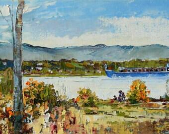 Oil painting, original artwork, seascape, Quebec painting, original Canadian oil painting, impressionist art, home decor 16 X 8