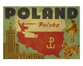 POLAND 2F- Handmade Leather Passport Cover / Travel Wallet - Travel Art