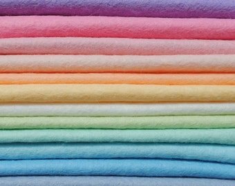 "Pastel Felt Collection 9"" or 12"" Squares 15 Colours Wool Blend Felt - Felt Bundle"