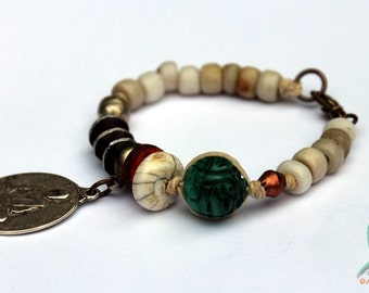 Lotus - mixed media, tribal and ethnic bracelet with old trade and prayer beads and gemstones