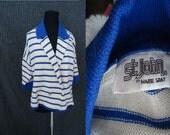 St John Marie Gray NAUTICAL Vintage 1980's Womens Cardigan Sweater Jacket M L