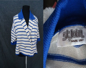 St John Marie Gray NAUTICAL Vintage 1980's Womens Cardigan Sweater Jacket M L
