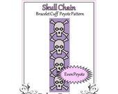 Bead Pattern Peyote(Bracelet Cuff)-Skull Chain