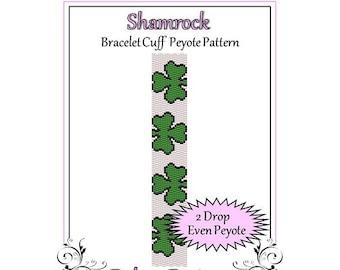 Bead Pattern Peyote(Bracelet Cuff)-Shamrock