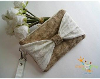 Bridesmaid - wristlet - bridesmaids gift - wristlets - burlap wristlet
