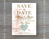 Save the Date Postcard, Destination Wedding, Beach, Summer Wedding -TRAVELING HEARTS- Digital Printable File OR Professionally Printed Cards
