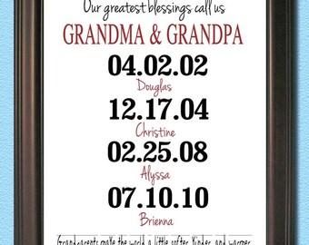 Custom Granparents Art Print - 8x10- Grandma, Grandpa, Grandchildren